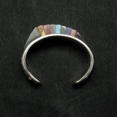 Image 4 of One of a Kind Hopi Multi Stone Inlay Bracelet, Bennard & Frances Dallasvuyaoma