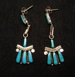 Zuni Turquoise Needlepoint Sterling Silver Earrings, C Hatti