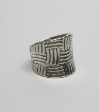 Image 1 of Fancy Navajo Sterling Silver Ring sz9, Bryan Joe