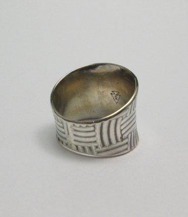 Image 2 of Fancy Navajo Sterling Silver Ring sz9, Bryan Joe