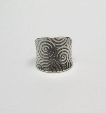Image 0 of Wide Navajo Native American Sterling Silver Ring sz7-1/2, Bryan Joe