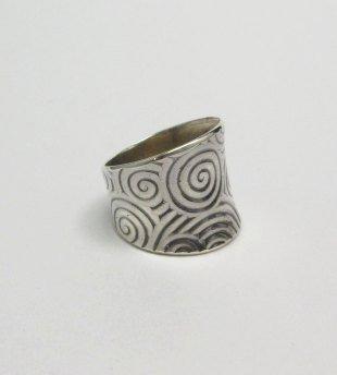 Image 1 of Wide Navajo Native American Sterling Silver Ring sz7-1/2, Bryan Joe