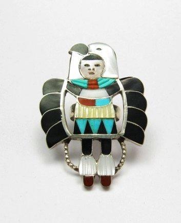 Image 1 of Madeline Beyuka ~ Zuni ~ Eagle Dancer Inlay Ring Sz7