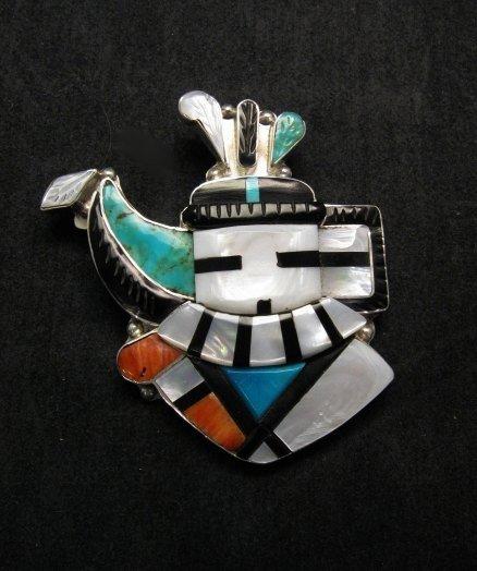 Image 0 of Eldred Martinez Zuni Longhorn Kachina Mask Pin/Pendant