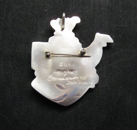 Image 2 of Eldred Martinez Zuni Longhorn Kachina Mask Pin/Pendant