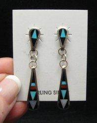 Multigem Zuni Channel Inlay Earrings by David T. Zuni