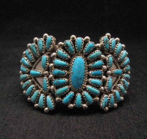 Image 0 of Justin Wilson Navajo Native American Silver & Turquoise Cluster Bracelet