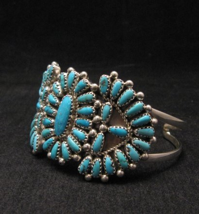 Image 1 of Justin Wilson Navajo Native American Silver & Turquoise Cluster Bracelet