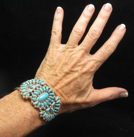 Image 3 of Justin Wilson Navajo Native American Silver & Turquoise Cluster Bracelet
