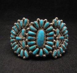 Justin Wilson Navajo Native American Silver & Turquoise Cluster Bracelet