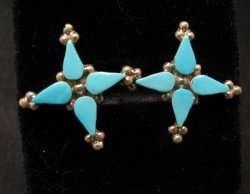 Native American Zuni Turquoise Sterling Silver Earrings