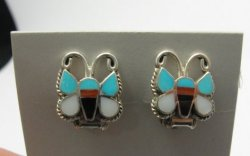 Petite Zuni Butterfly Multigem Inlay Clip-on Earrings