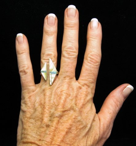 Image 0 of Native American Wrap-around Multigem Inlay ring sz6 to sz8