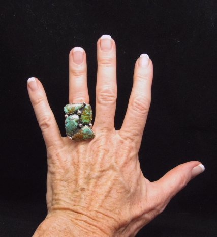 Image 2 of Anna Spencer Navajo Turquoise Sterling Silver Ring sz6-1/2