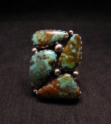 Anna Spencer Navajo Turquoise Sterling Silver Ring sz6-1/2