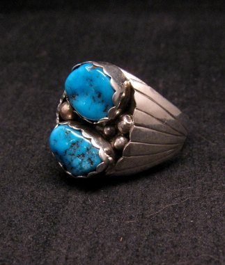 Image 1 of 2-Stone Navajo Turquoise Sterling Silver Mens Ring sz12, Marlene Martinez