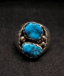2-Stone Navajo Turquoise Sterling Silver Mens Ring sz12, Marlene Martinez