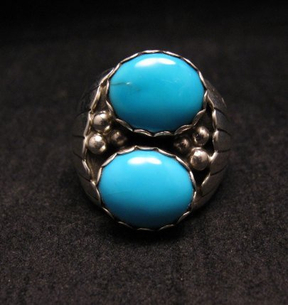Image 1 of Navajo Native American Double Turquoise Silver Ring sz10, Marlene Martinez