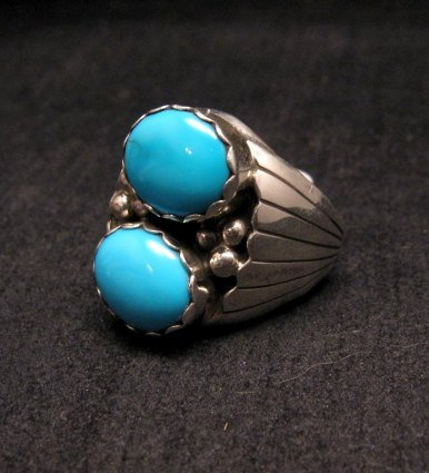 Image 0 of Navajo Native American Double Turquoise Silver Ring sz10, Marlene Martinez