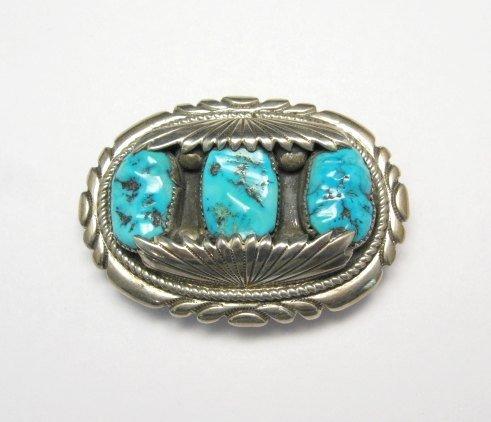 Image 0 of Robert & Bernice Leekya Zuni Turquoise Sterling Silver Buckle