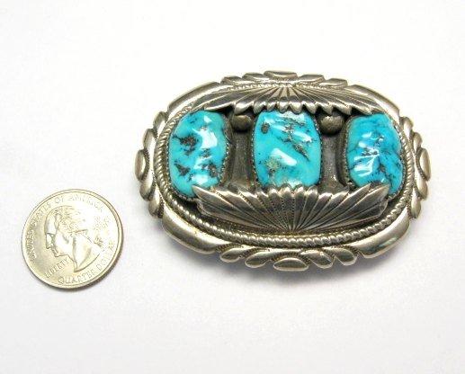 Image 1 of Robert & Bernice Leekya Zuni Turquoise Sterling Silver Buckle