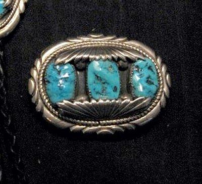 Image 2 of Robert & Bernice Leekya Zuni Turquoise Sterling Silver Buckle