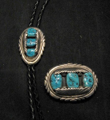 Image 3 of Robert & Bernice Leekya Zuni Turquoise Sterling Silver Buckle