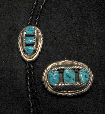Image 2 of Robert & Bernice Leekya Zuni Turquoise Sterling Silver Bolo (RLB)