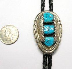 Robert & Bernice Leekya Zuni Turquoise Sterling Silver Bolo (RLB)