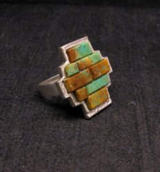 Hopi Indian 4-Direction Turquoise Ring sz8, Bennard Dallasvuyaoma