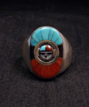 Image 0 of Don Dewa Zuni Sunface Inlay Spinner Ring sz11