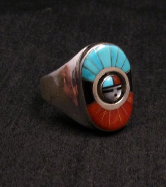 Image 1 of Don Dewa Zuni Sunface Inlay Spinner Ring sz11