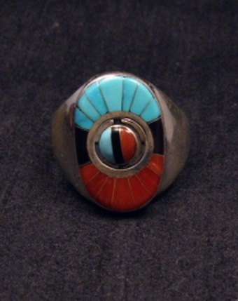 Image 3 of Don Dewa Zuni Sunface Inlay Spinner Ring sz11