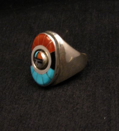 Image 3 of Native American Zuni Sunface Spinner Ring sz10, Donald Dewa
