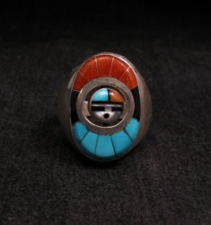 Native American Zuni Sunface Spinner Ring sz10, Donald Dewa