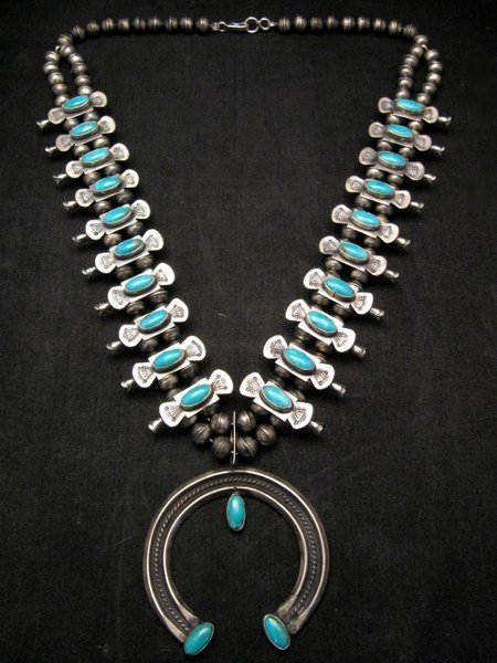 Image 0 of Navajo Old Pawn Box Bow Squash Blossom Necklace, Marcella James