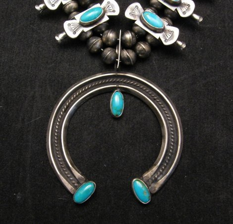 Image 1 of Navajo Old Pawn Box Bow Squash Blossom Necklace, Marcella James