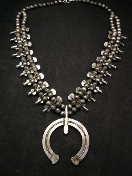 Image 4 of Navajo Old Pawn Box Bow Squash Blossom Necklace, Marcella James