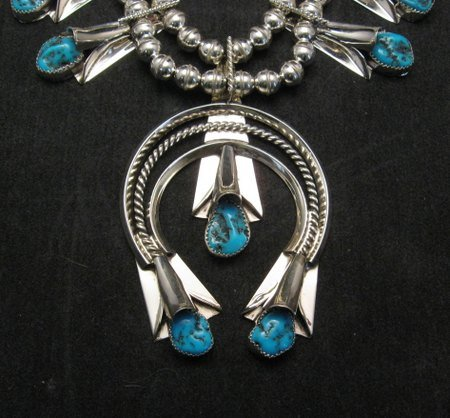 Image 2 of Navajo Native American Turquoise Squash Blossom Necklace Set, Louise Yazzie