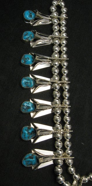 Image 3 of Navajo Native American Turquoise Squash Blossom Necklace Set, Louise Yazzie