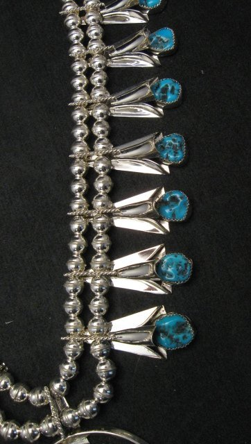 Image 4 of Navajo Native American Turquoise Squash Blossom Necklace Set, Louise Yazzie