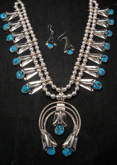 Image 0 of Navajo Native American Turquoise Squash Blossom Necklace Set, Louise Yazzie