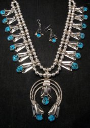 Navajo Native American Turquoise Squash Blossom Necklace Set, Louise Yazzie
