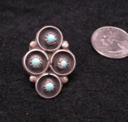 Vintage Native American Turquoise Silver Ring sz5-1/2 sz6-1/2