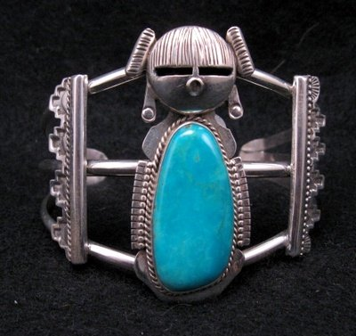 Image 0 of Nelson Morgan Navajo Turquoise Silver Hopi Maiden Bracelet