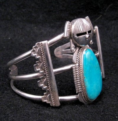 Image 1 of Nelson Morgan Navajo Turquoise Silver Hopi Maiden Bracelet