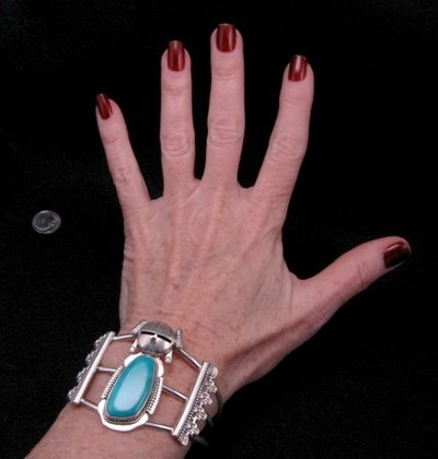 Image 2 of Nelson Morgan Navajo Turquoise Silver Hopi Maiden Bracelet