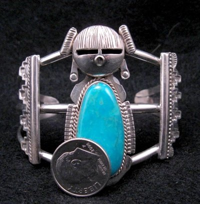 Image 4 of Nelson Morgan Navajo Turquoise Silver Hopi Maiden Bracelet