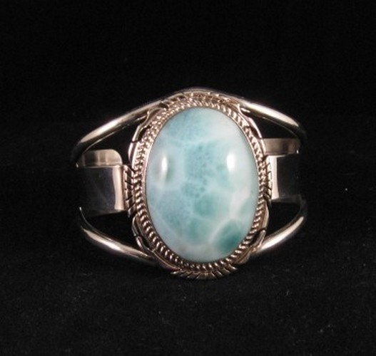 Image 0 of Extra-Small Navajo Indian Larimar Sterling Silver Bracelet, Elouise Kee