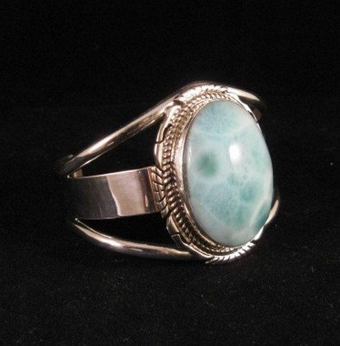 Image 1 of Extra-Small Navajo Indian Larimar Sterling Silver Bracelet, Elouise Kee